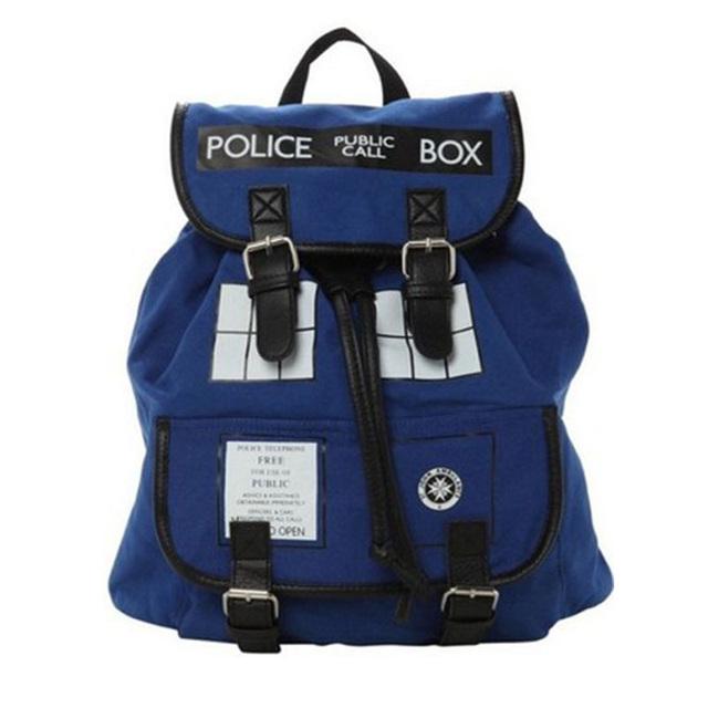 Anime Dr Who Tardis Doctor Who Tardis Mochila De Pelúcia Fivela Desleixo saco ocasional Escola saco de desporto mochila para adolescentes crianças