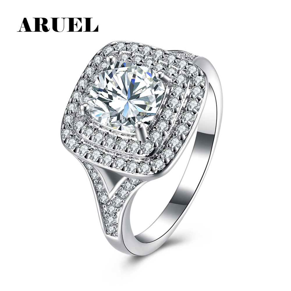 ARUEL Luxury Wedding Rings For Women Big Square Cubic Zircon Finger Rings Anel White Gol ...