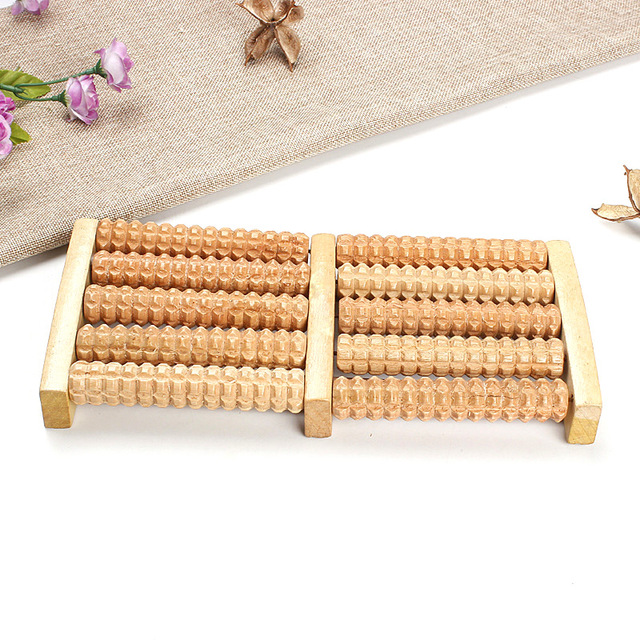 New 5 Rows Wheel Wooden Massager Wood Roller Foot Massager Relax Relief   HJL2017