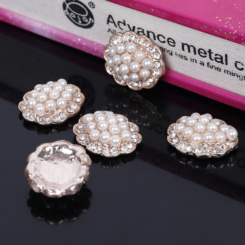Engood 2018New 100Pcs Rose-Gold Pearl Rhinestone Buttons For Wedding Decoration And DIY Hair Accessories ZJ145