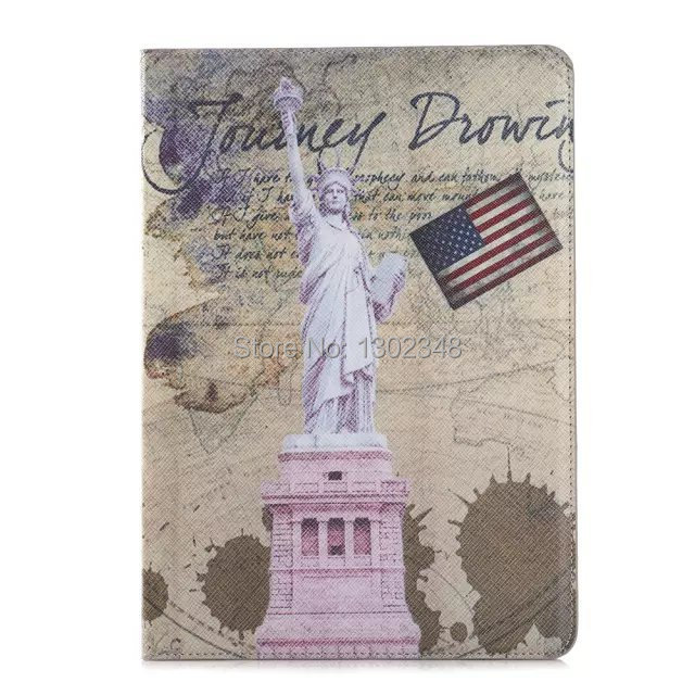 Famous Landmarks Design Retro Magnet Smart Cover England World Attractions PU Leather Case For Apple ipad 6 ipad air 2 Tablet