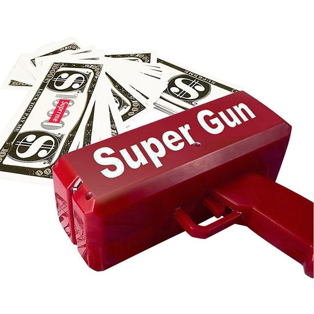 Make It Rain Money Gun Red Fashion Toy Christmas Gift Party Toys Game 1PCS Cash Cannon Funny Money Gun Toy Pistol Toy