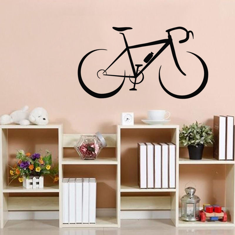 Fashionable Bicycle Wall Stickers Kids Rooms Vinyl Removable DIY Wall Decals Self Adhesive Wall Mural Home Decor