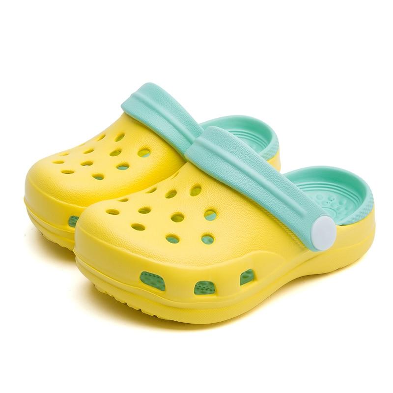 TZLDN Girls Boys Clogs Garden Shoes Summer Hollow Children Slippers Contrast Color Kids Beach Sandals EVA Eco-friendly Shoes - Color: Yellow