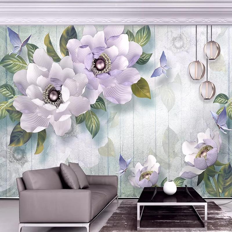 Custom Murals Wallpaper 3D Stereo Embossed Peony European