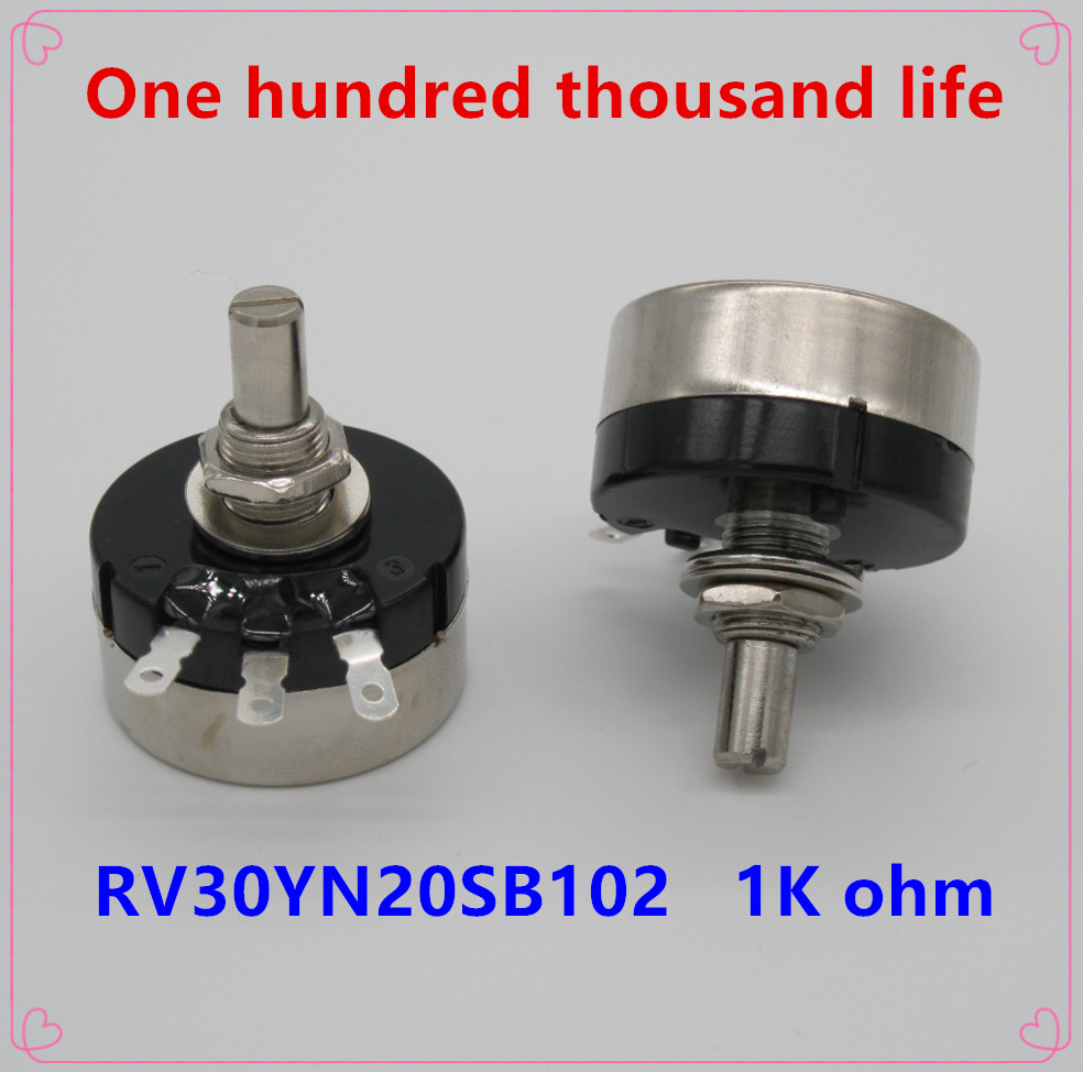 1k Ohm Adjustable Resistance Of Single Ring Carbon Film Potentiometer Strong Resistance To Heat And Hard Wearing Measurement & Analysis Instruments Electrical Instruments New Fashion 2pcs Rv30yn20s B102 3w