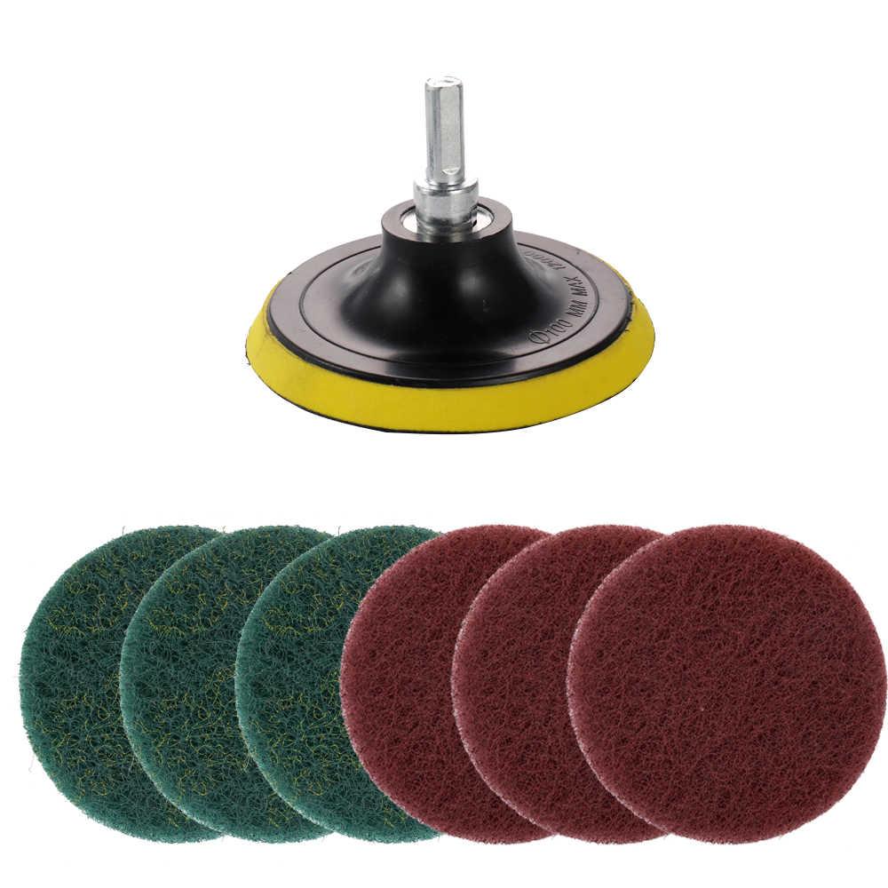 Trapano elettrico di Auto-adesivo Disco 10 MILLIMETRI Albero Spugnetta abrasiva Ruote In Fibra di Strumento di Pulizia