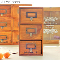 JULY'S SONG Wooden Storage Box With Drawers 3 Layers Desktop Home Office Storage Drawer Organizer Jewelry Container Wooden Box