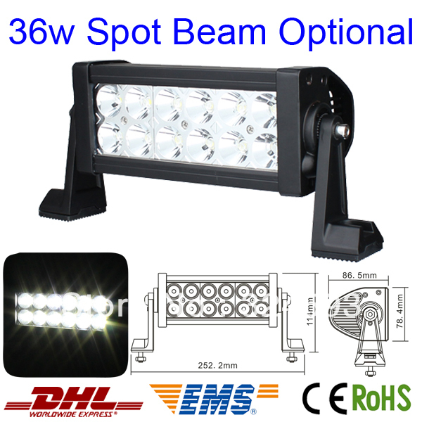 36W 7.5 inch LED offroad Work light bar LED SPOT Beam Lamp Truck BOAT SUV 4WD 4X4 ATV UTV MINING CAMPING FREE SHIPPING