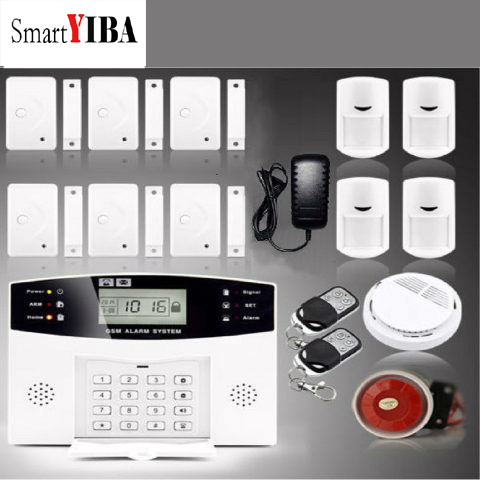 SmartYIBA Wireless GSM Home Security Burglar Alarm System Russian French Spanish Italian Voice Smoke Door PIR Alarm Sensor diy touch keypad wireless gsm sms autodial smart home security burglar alarm system smoke sensor voice pir emergency