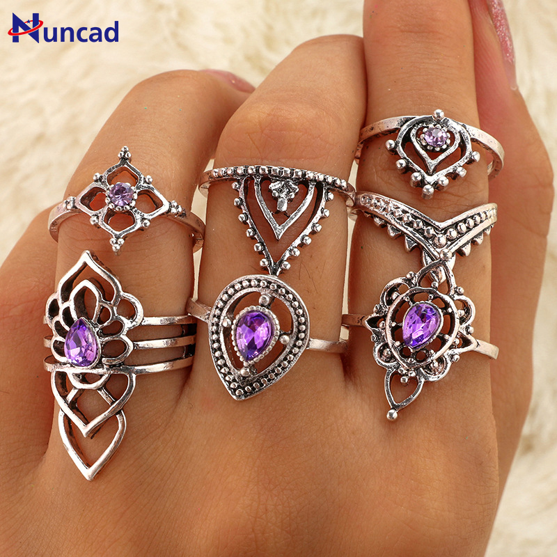 2017 Retro Boho Flower Ring Sets Vintage Purple Crystal Knuckle Midi Rings For Women Beach Anillos Punk Jewellery