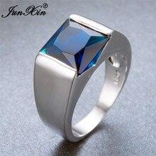 Мужское женское простое кольцо с голубым камнем, новое модное циркониевое кольцо на палец, 925 пробы Серебряное заполненное обручальное кольцо для мужчин и женщин