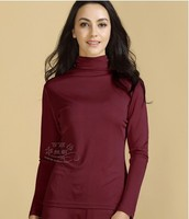 100% authentic mulberry silk top with thick silk machine navigation turtleneck thermal long sleeve lingerie 4