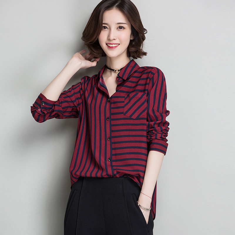Blusa de rayas Tops camisa femenina 2017 Camisas de La Gasa Blusas Elegante Ofic