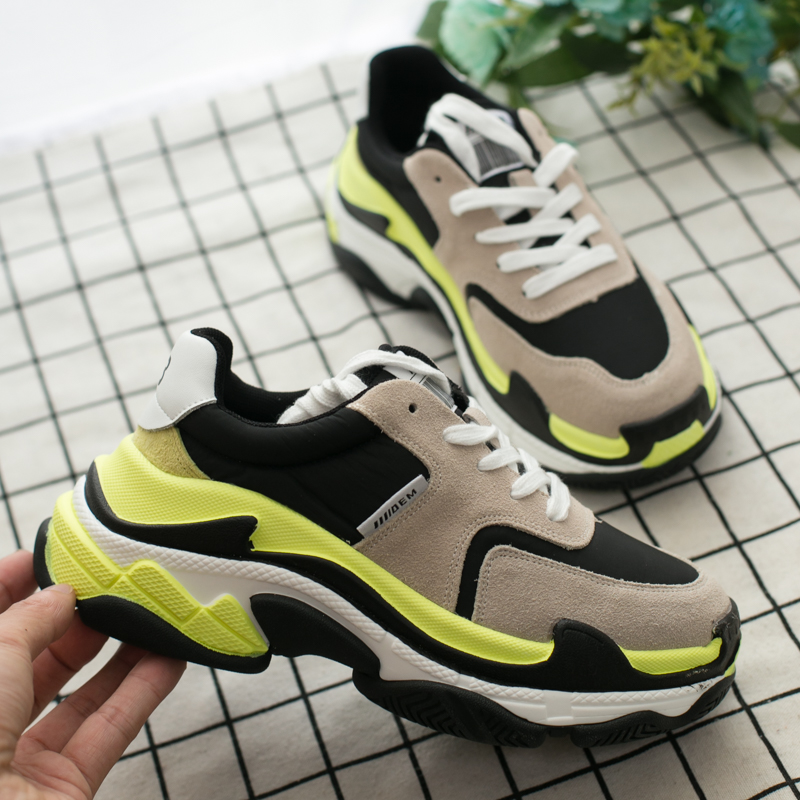 2019 printemps nouvelles baskets femmes chaussures couleur fluorescente correspondant bas pour aider caoutchouc fond épais haute qualité chaussures de course MA-81