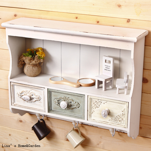 MDF Vintage Shabby Chic White Small Old Style Kitchen Cabinet-in Living Room Cabinets From