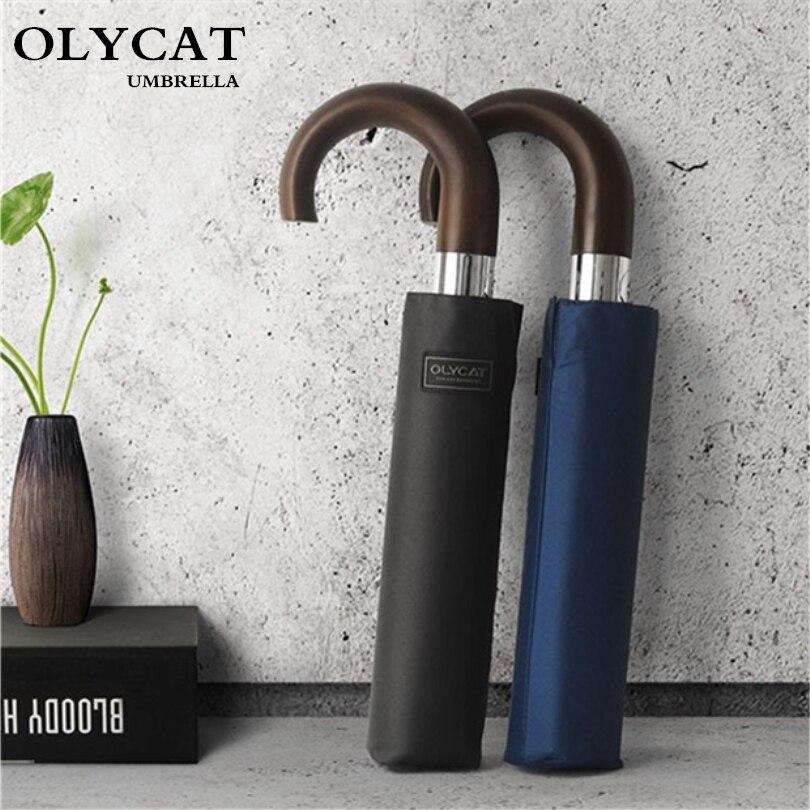 OLYCAT brand Wind Resistant Folding Automatic Umbrella Male Auto Luxury Big Windproof Umbrellas For Men Rain Black Coating 10K