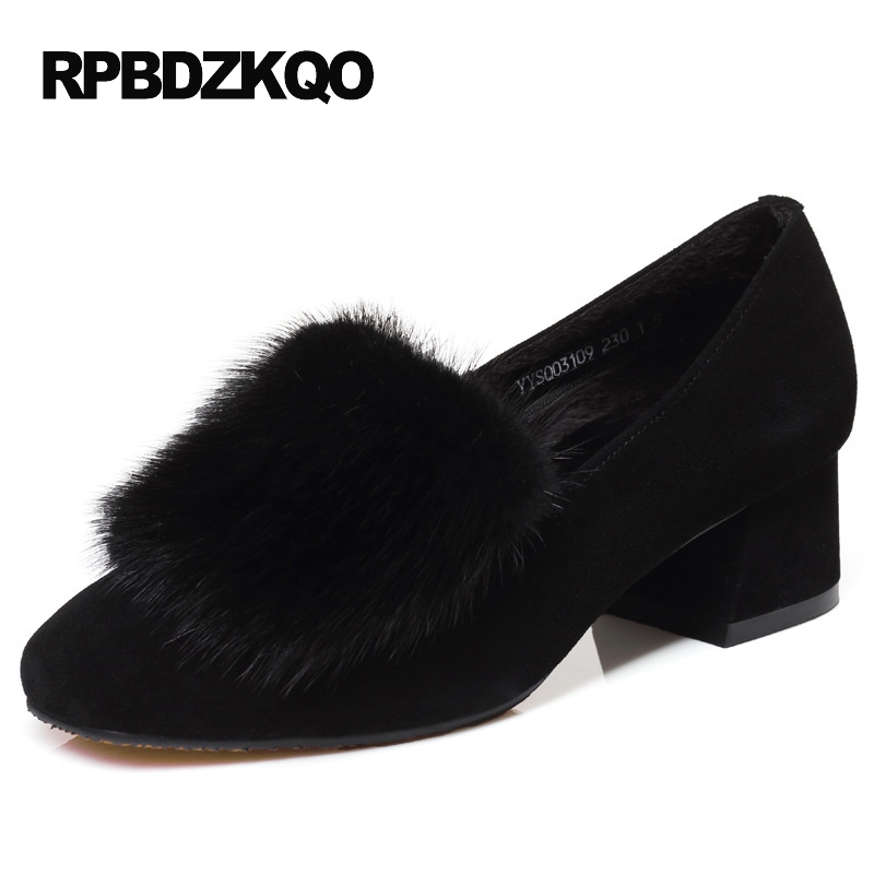 Square Toe Medium Pumps Genuine Leather Suede Black Plus Size Fur Party Shoes For Women Elegant High Heels Chunky Autumn Chinese selens pro 100x100mm 12nd square medium
