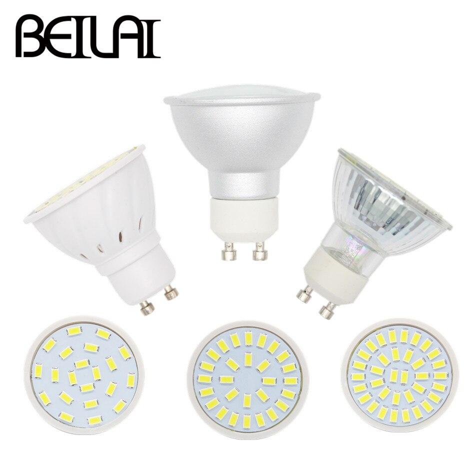 10pcs GU10 LED Spotlight 220V 5730 Lampada LED Lamp GU 10 Plastic Glass Aluminum Candle Spot Luz LED Bulbs Light Home Lighting
