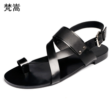 Summer Mens Roman Sandals Genuine Leather Leisure Beach Shoes Men all-match cowhide Slippers Flip Flops British retro