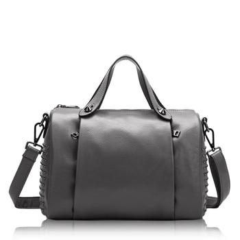Real Genuine Leather Women Larger Boston Handbag Ruched Rivet Ornament Women Shoulder Bags Fashion Message Bags HD651217