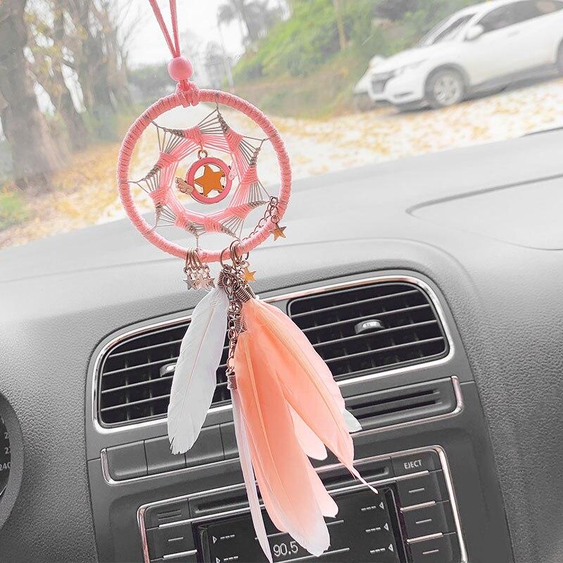 Interior Car Hanging Decoration Creative Aesthetic Dream Catcher Feather Net Pendant Rear View Mirror Ornament Home Decor Ornaments Aliexpress