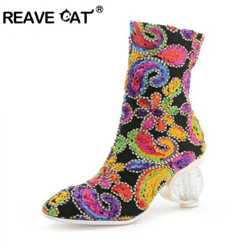 REAVE CAT designed Floral Short strecthed booties Transparent Clear Strange high heels woman mid calf boots