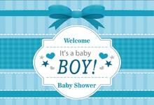 Laeacco Cartoon Bow Stripe Scene Boy Baby Shower Seamless Portrait Photography Background Photographic Backdrop For Photo Studio