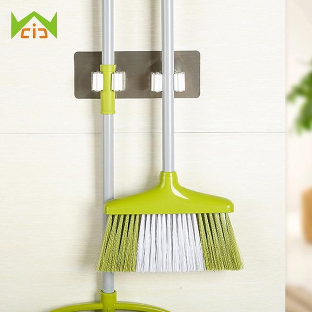 WCIC 2 Position Kitchen Shelf Storage Holder For Mop Wall Mounted Kitchen  Organizer Brush Broom Mops