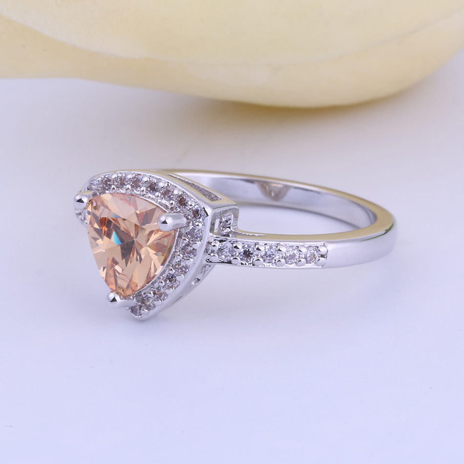 Hot Fashion Red Purple Cz crystal Silver Color rings For Women Love Heart Shaped Ring Bridal Romantic Wedding Promises Ring
