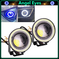 2 шт. Новые Высокая Мощность Универсальные СВЕТОДИОДНЫЕ Противотуманные фары Лампы Автомобилей дневные Ходовые Огни DRL Белый Синий COB Halo Angel Eyes автомобиль для укладки
