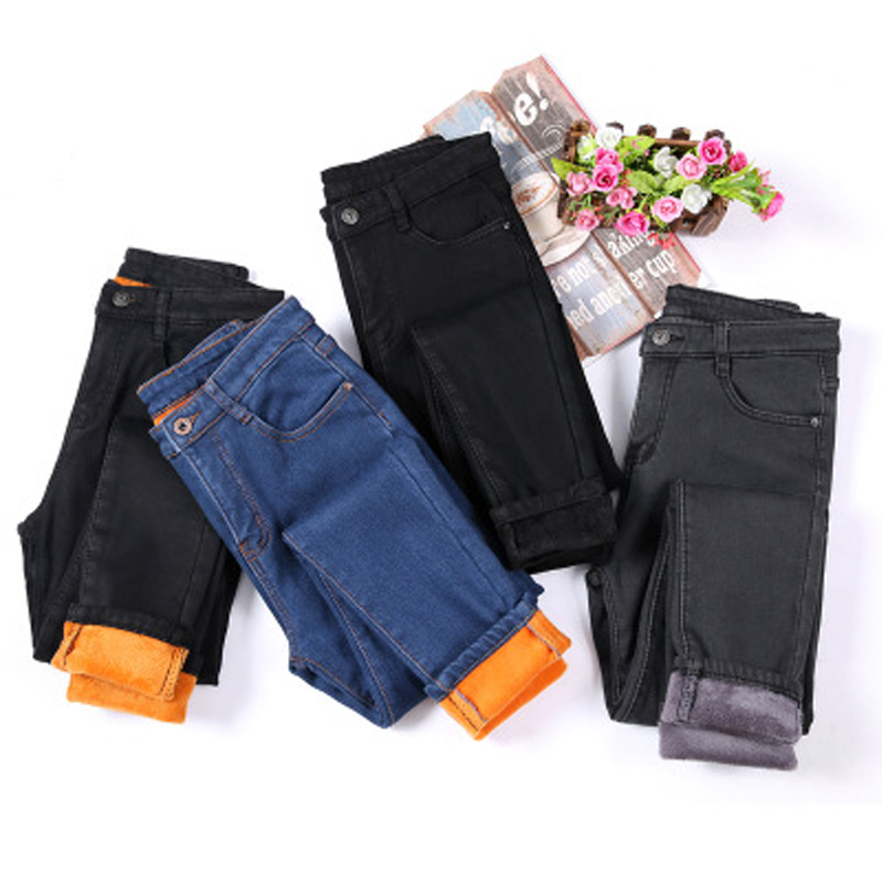 Women Winter New Style Jeans Female Plus Velvet Cashmere Thick Trousers Solid Solor Warm Pencil Pants Plus Size 4XL
