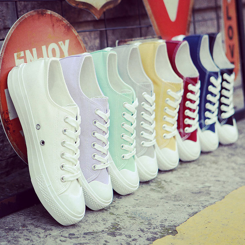 Spring Women Vulcanize Shoes Ladies Canvas Casual Shoes Flat Female Lace Up Sneakers Women Summer Shoes Leisure Footwear BT734 huanqiu white women vulcanize canvas shoes low breathable female solid color flat shoes casual candy colors leisure cloth shoes