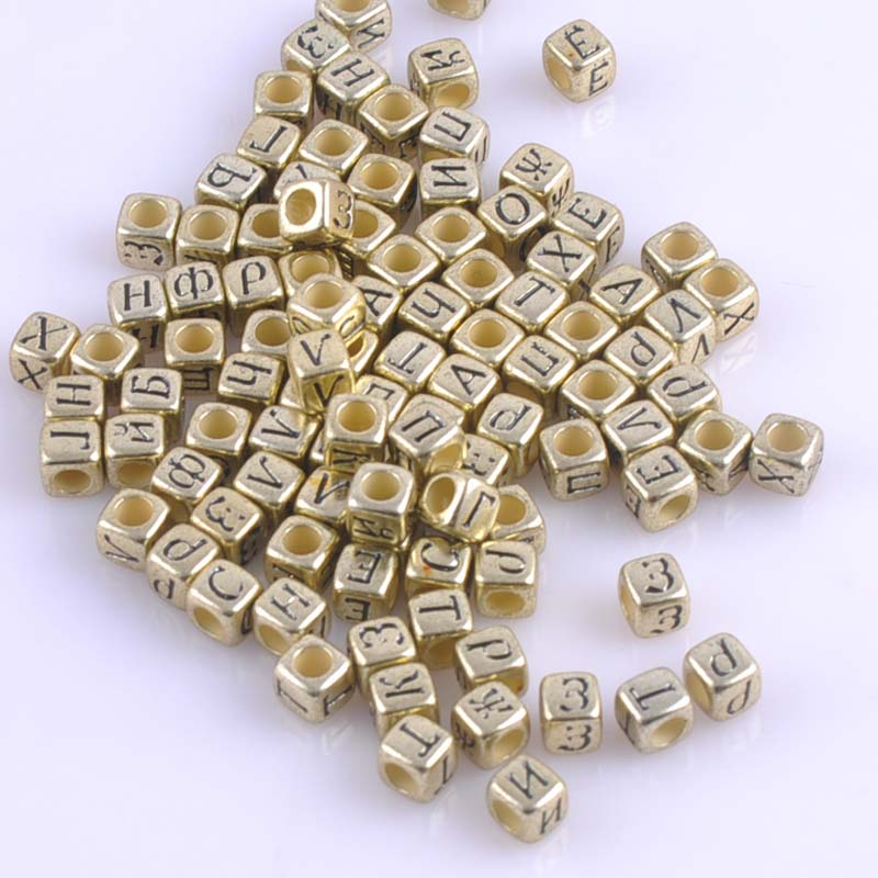 Latest Collection Of 200pcs Mixed Gold Acrylic Russian Alphabet Letter Flat Cube Beads For Jewelry Making 6x6mm 2017 New Ykl0513x Jewelry & Accessories