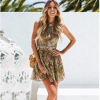 Women's beach dress summer sexy bohemian printed beach skirt female hanging neck backless waist hollow holiday lace beach dress