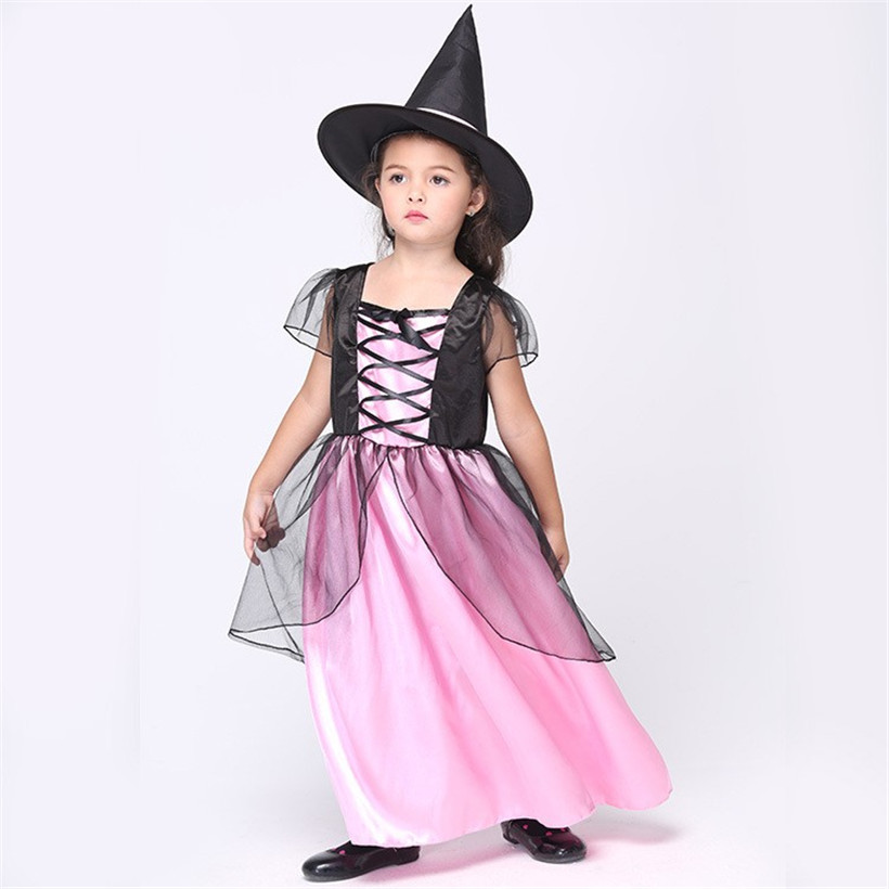 coulhunt 2017 girl devil halloween costumes 3 11 years child witch hat gauze suit witch - Halloween Costumes Prices