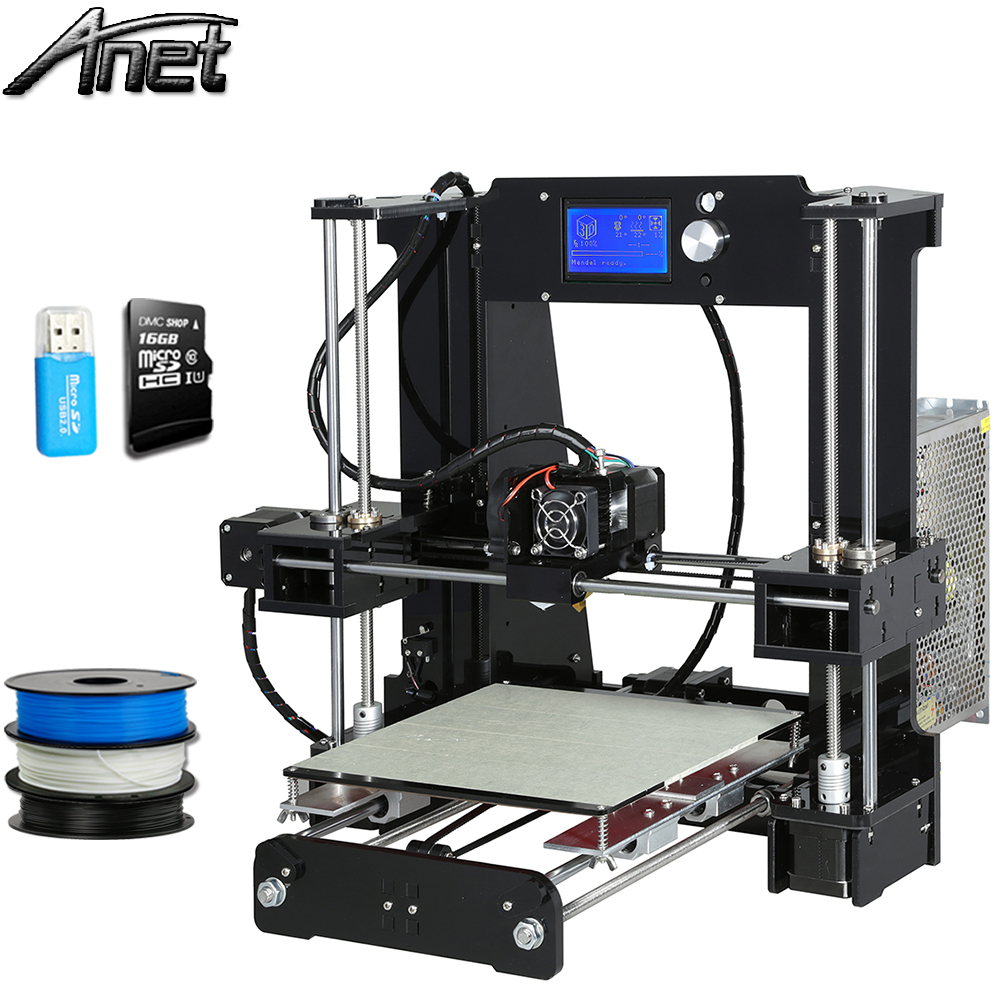 Newest Anet A6 3d-printer Large printing Size Precision Reprap Prusa i3 3D Printer kit DIY with Filament 8GB Card