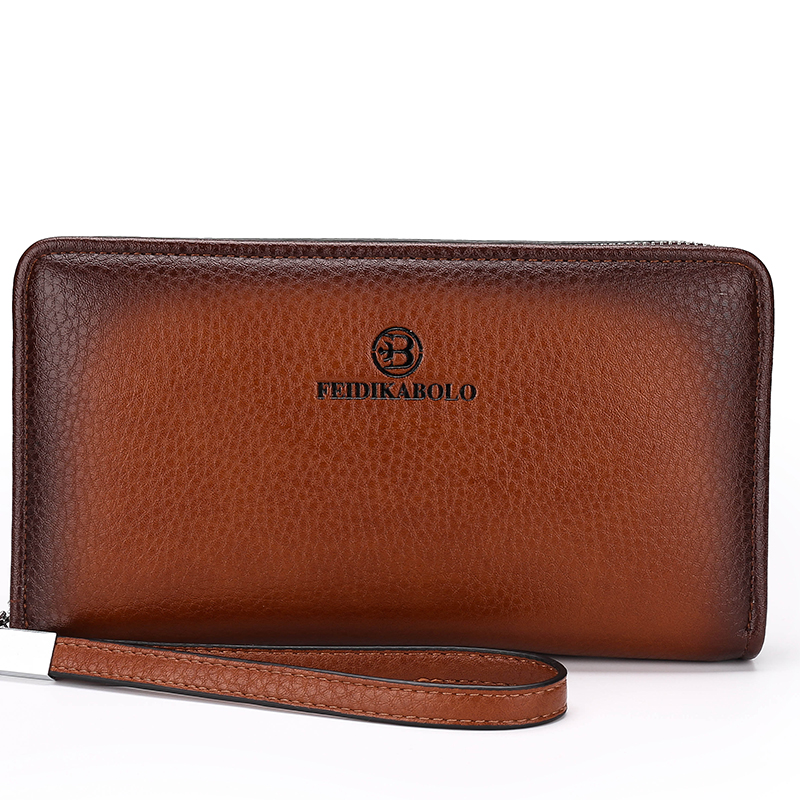 Luxury Business Long Men Wallets PU Leather Clutch Purse Men Handy Bag Carteira Masculina Brown Black Double Zipper Large Wallet feidikabolo brand zipper men wallets with phone bag pu leather clutch wallet large capacity casual long business men s wallets