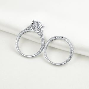 Image 2 - Newshe sólida plata 925 Vintage 2 Ct ronda AAA CZ anillo de compromiso nupcial conjunto de joyería clásica para las mujeres 1R0050