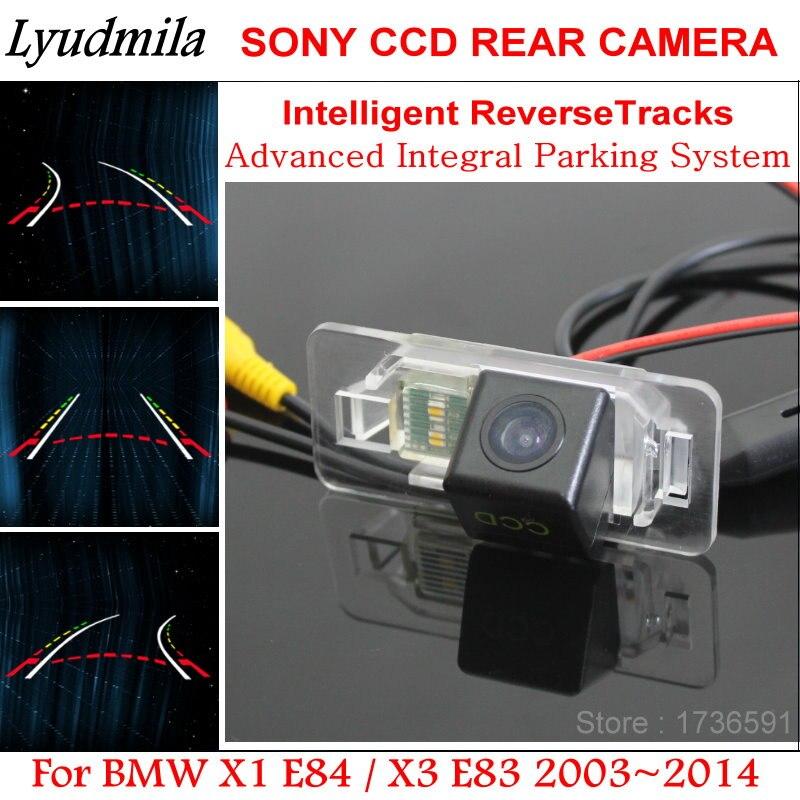 LYUDMILA trayectoria del coche cámara para BMW X1 E84/X3 E83 vehículo marcha atrás cámara de visión trasera con inteligente Dynamic Estacionamiento línea