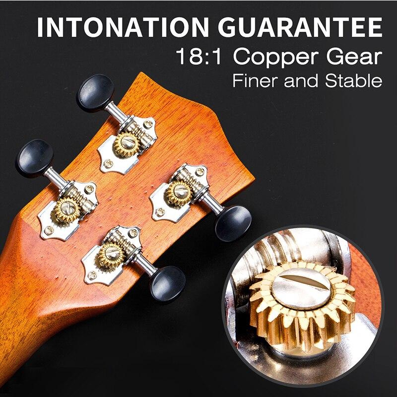 Aklot Solid Mahogany Tenor Ukulele Starter Kit Soprano Concert Ukelele Uke Hawaii Guitar 23 Inch 12 fret 1:18 Copper Tuner