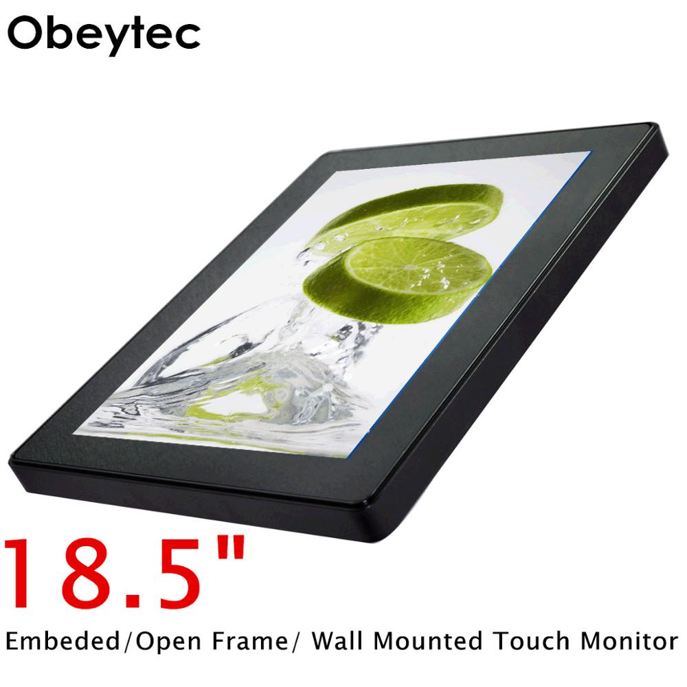 Obeytec 18.5 inch LCD Capacitive Open Frame Touch Screen Monitor, PCAP touch, Multi <font><b>10</b></font> Points, 16:9, IP65 Vandal Proof, 1366*768 image