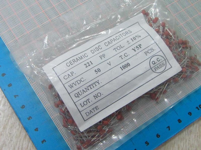 Free Shipping 1000pcs/lot High Quality 220PF 221 50V Ceramic dielectric Capacitor 220PF 221 50V dip ceramic capacitors 220pf