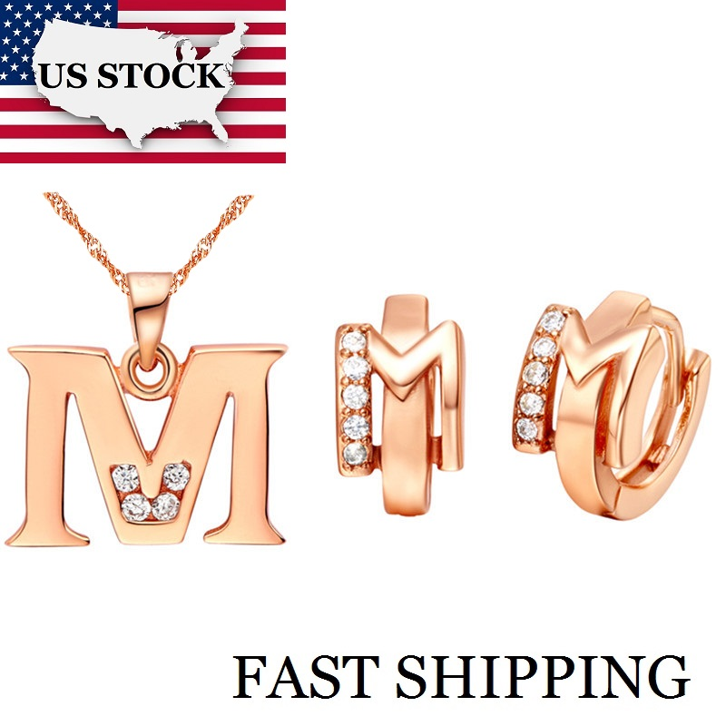 Letter A B C D E F G H I J K L M N O P Q R S T U V W X Y Z Necklace Pendent Letter Earrings Rose Gold Plated Jewelry Sets Ulove letra g bem bonita