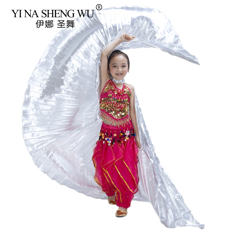 New Girls Handmade Belly Dance Isis Wings Children Dance Performance Wing Kids Belly Dance Practice Isis Wings 3 Colors NO Stick