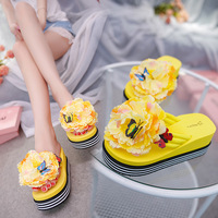 Summer Leisure And Delicate Butterfly Big Flowers Cool Slippers And Women S Slope With The Bottom