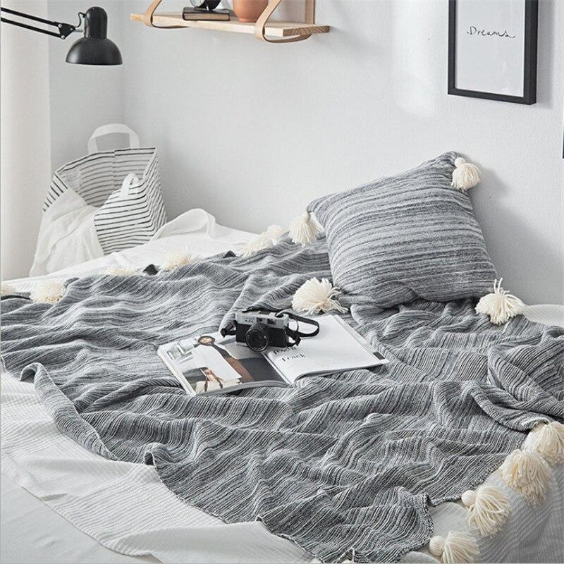 Hap-cerf nouvelle couverture en coton tricoté gland, couvertures de boule de lanterne, printemps et été voyage avion manta polaire deken