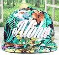 2016 моды крышка для летнее платье плоские края хип-хоп snapback шляпа полная хлопчатобумажная ткань flral дизайн Aloha вышитый логотип