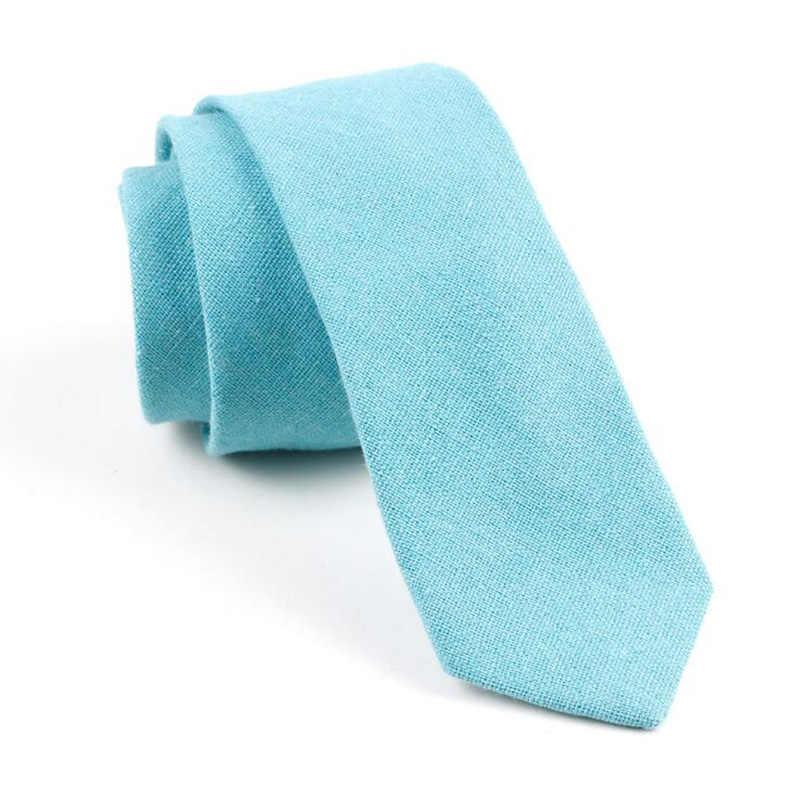 Rbocott男性の綿ネクタイ固体ネクタイ6センチスリムネクタイグレーグリーンブラウン黒細いネクタイカジュアル用男性結婚式ビジネススーツ