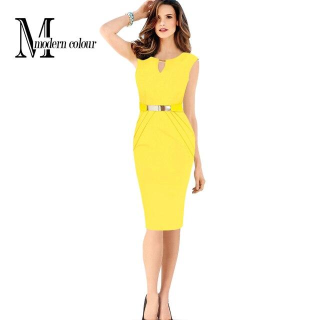 повседневная карандаш платья женщин лето 2016 Новая мода выдалбливают без рукавов длиной до колен платье Черный Синий Красный Желтый